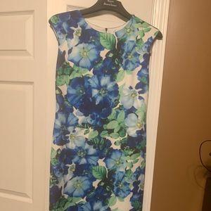 Vince Camuto Floral Print Scuba Midi Sheath Dress